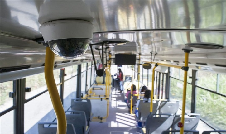 CCTV camera in happy bus