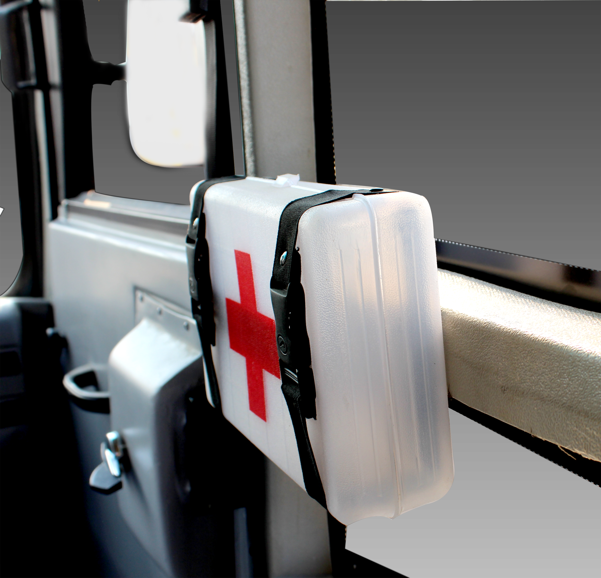 First aid box in happy bus